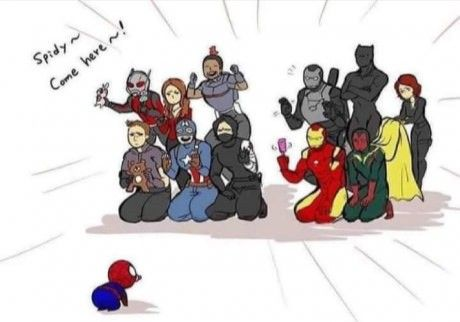Captain America civil war Spiderman <--- the two dads on Cap's team know how to get the kids XD
