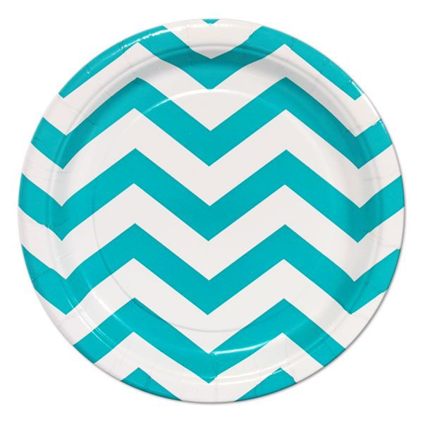 2 White and Turquoise Chevron Party Plates - Tableware