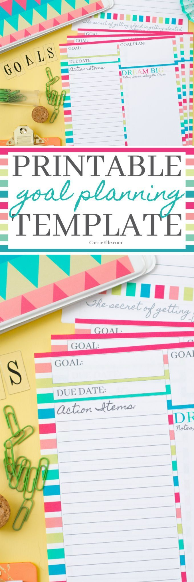 Free Printable Goal Planning Template - this is a great way to lay out your goal with clear action items!