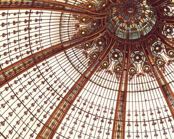 """Paris Architecture Photography, Paris Decor Bedroom, Galeries Lafayette, Art Nouveau Stained Glass, French Art Print 16×20 """"Splendor"""""""