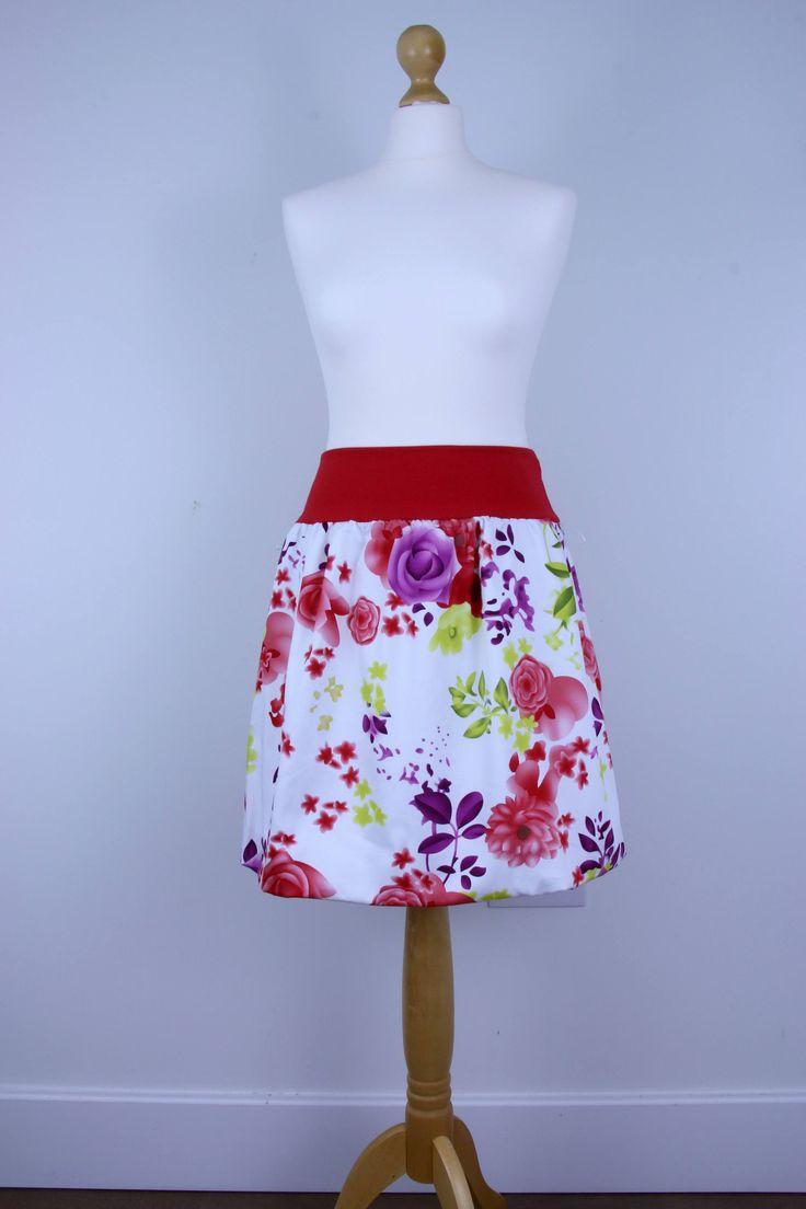 Red flower skirt, women skirt, bubble skirt, summer skirt, balloon skirt, cotton skirt, white skirt, midi skirt, elastic waist skirt by ElzahDesign on Etsy