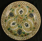 This dish belongs to a group of ceramics known as Kubachi ware. Named for a village in the Caucasus where this pottery was discovered in quantity, Kubachi wares are now thought to have actually been produced in Tabriz