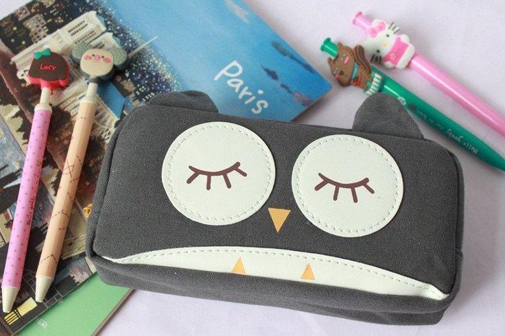 Dream Owl Pencil Case (Dark Gray) #Black #Canvas #Gray