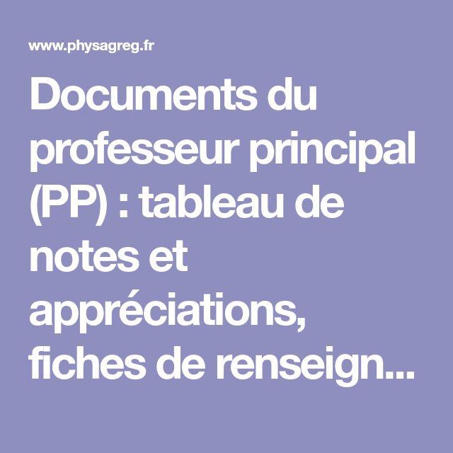 Documents du professeur principal (PP) : tableau de notes et appréciations, fiches de renseignements, profil et voeux élèves ...