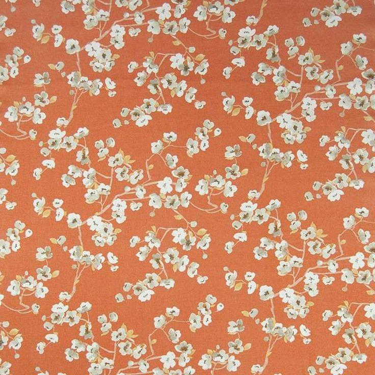 Warwick Fabrics : SAKURA, Colour MANDARIN