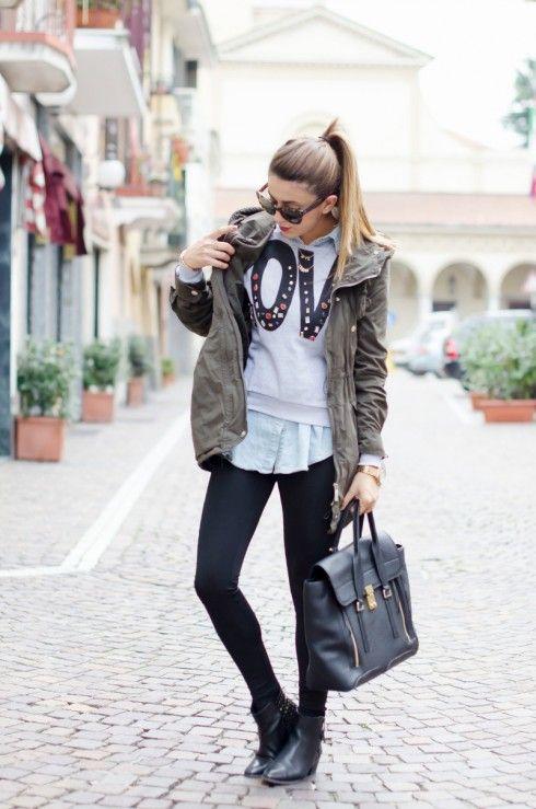 """OUTFIT AUTUNNO 2013: PARKA VERDE MILITARE & FELPA CON STAMPA. Nicoletta Reggio fashion blogger """"Scent of obsession""""  ottobre 2013"""