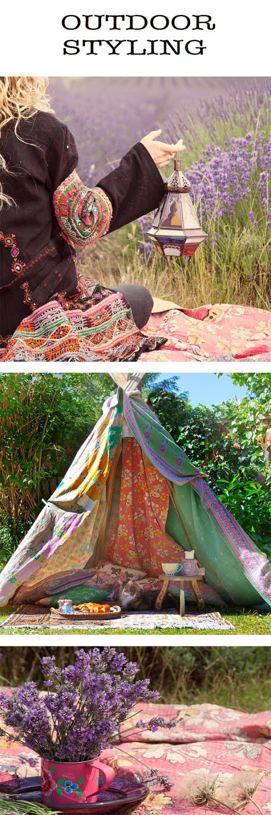 outdoor, picnic, style with kantha quilts, bohemian, boho, eclectic, hippy, indian, colour, textiles, be home free style