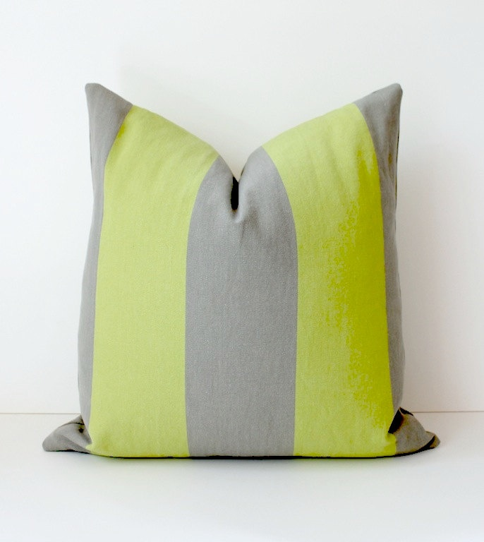 Chartreuse And Grey Stripe Decorative Designer Pillow Cover 18 X Accent Throw Cushion Neon Striped Cottage Modern Gray Lime Green