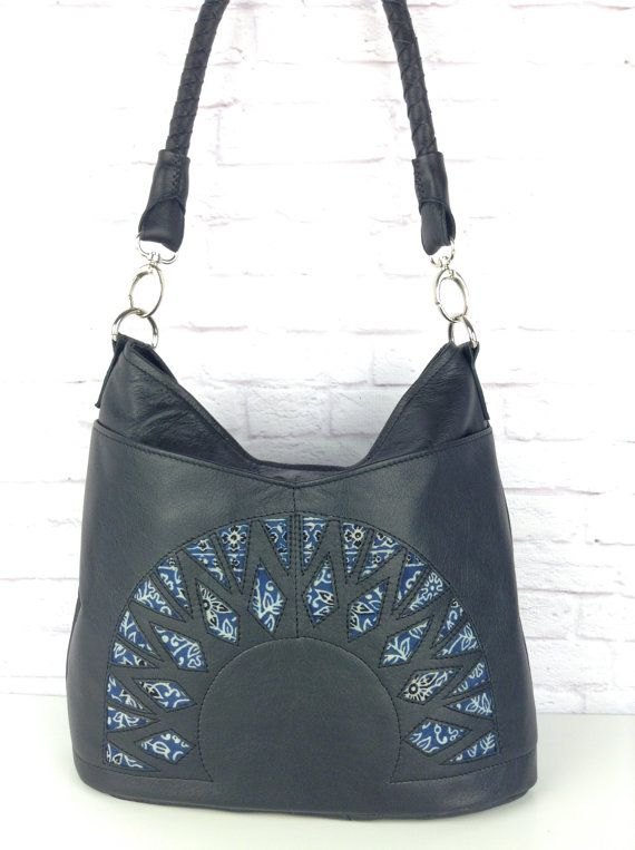 Black leather hobo bag with hand dyed fabric detail by WOLF BLOSSOM