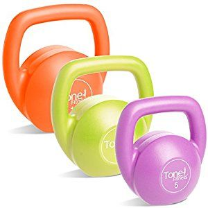 On sale set of three plus a work out DVD! Tone Fitness Kettlebell Body Trainer Set with DVD, 30 lbs.