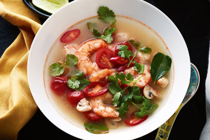 Marion Grasby's Tom yum soup with prawns and chilli http://www.taste.com.au/recipes/30431/tom+yum+soup