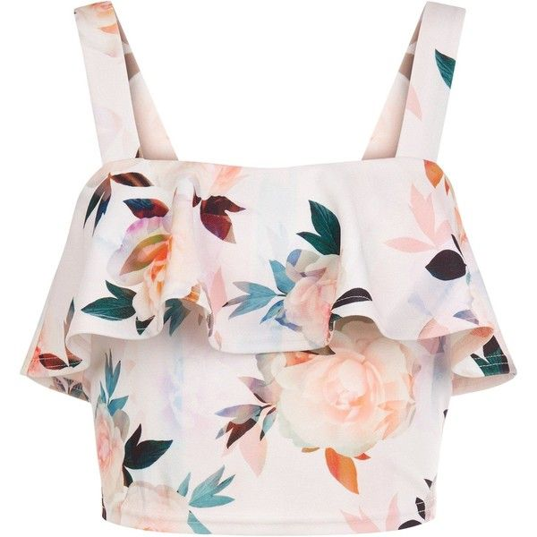New Look Petite White Floral Print Frill Crop Top ($26) ❤ liked on Polyvore featuring tops, crop top, shirts, blusas, white pattern, print shirts, floral top, white ruffle top and ruffle shirt