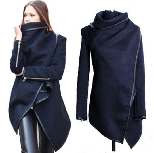 Plus Size XL XXL New 2014 Autumn Europe Style Asymmetric Womens Temperament Slim Woolen Winter Coat Windbreaker Abrigos Desigual Now only $55.50