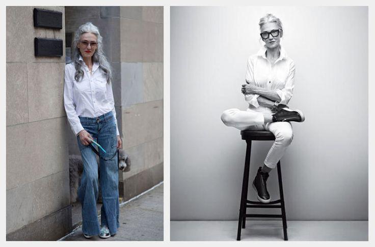 Imagen que contiene a la izquierda a la estilista linda rodin con un look de camisa blanca y jeans  y a la derecha sentada sobre un banco de madera en un look blanco de pies a cabeza, con camisa blanca de botones, en algodón.