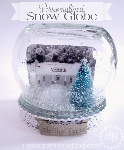 Personalized Snow Globe - love this memento to give as gifts to family members, of the family farm.  amazing idea!  via @mmscrapshoppe
