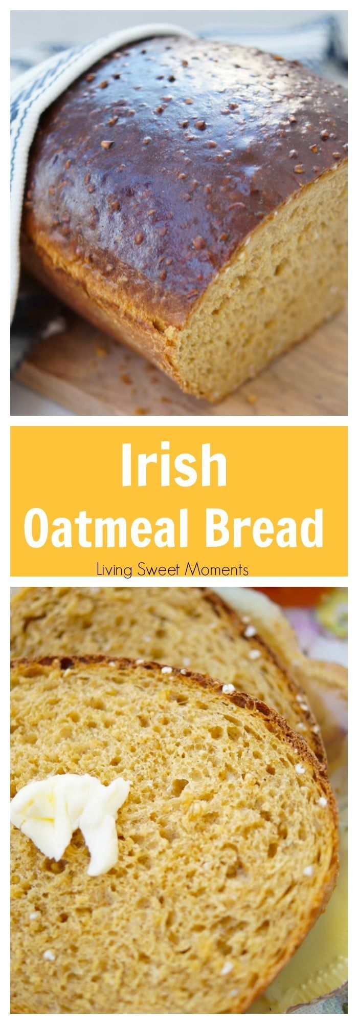 This easy and delicious Irish Oatmeal Bread recipe is made with steel cut oats, yeast, and molasses. Perfect for toast, sandwiches, & everything in between. More bread recipes at livingsweetmoments.com via @Livingsmoments