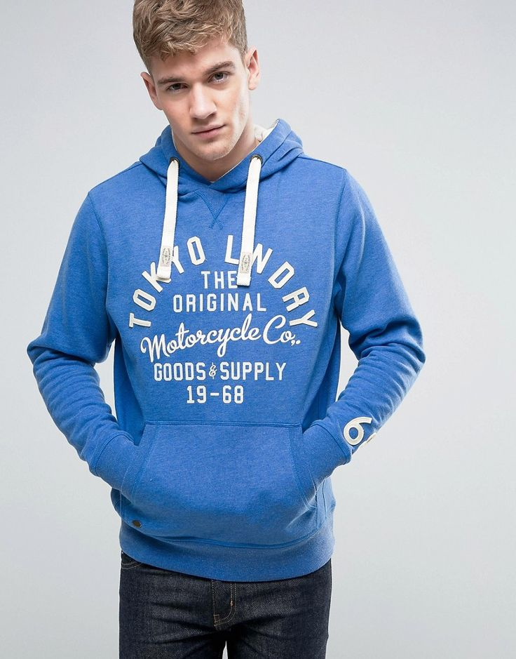 Get this Tokyo Laundry's hooded sweatshirt now! Click for more details. Worldwide shipping. Tokyo Laundry Overhead Hoodie with Front Print - Blue: Hoodie by Tokyo Laundry, Soft-touch sweat, Drawstring hood, Applique and printed front, Pouch pocket, Ribbed trims, Regular fit - true to size, Machine wash, 50% Cotton, 50% Polyester, Our model wears a size Medium and is 181cm/5'11.5 tall. (sudadera con capucha, hood, hoody, hooded, capuchas, sudadera con capucha, sudaderas con capucha, sudaderas…