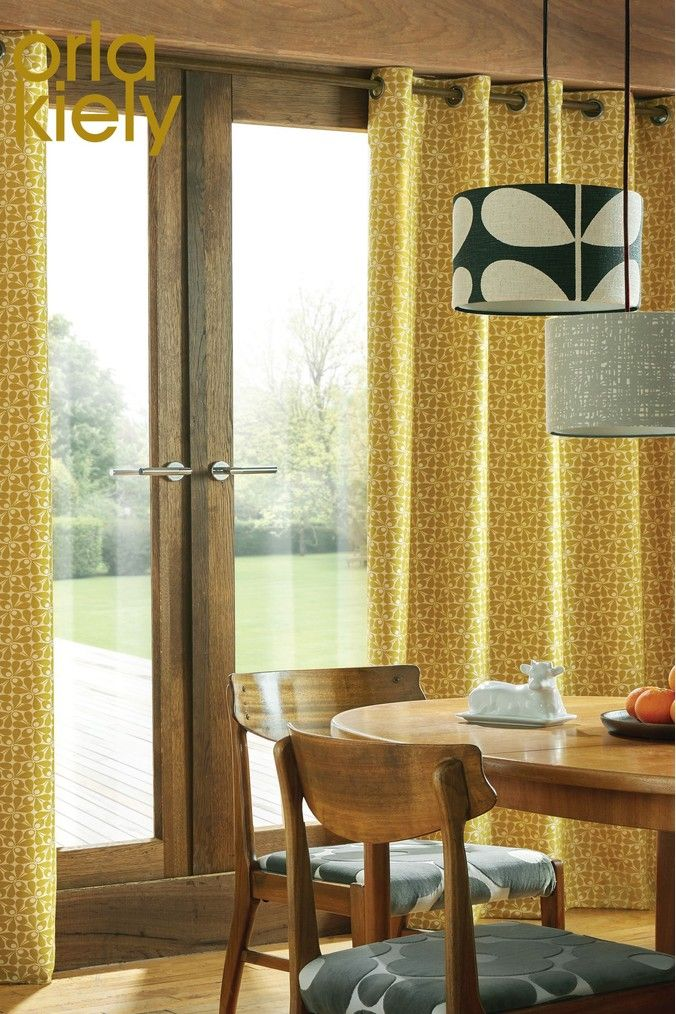 Orla Kiely Acorn Cup Geo Lined Eyelet Curtains Yellow Curtains Orla Kiely Home Decor