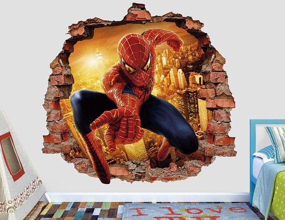 Spiderman Wall Decal 3D Smashed Wall Sticker Spider Man Wall