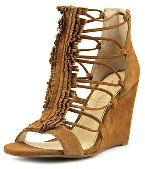 Jessica Simpson Beccy Women Open Toe Suede Brown Wedge Sandal.