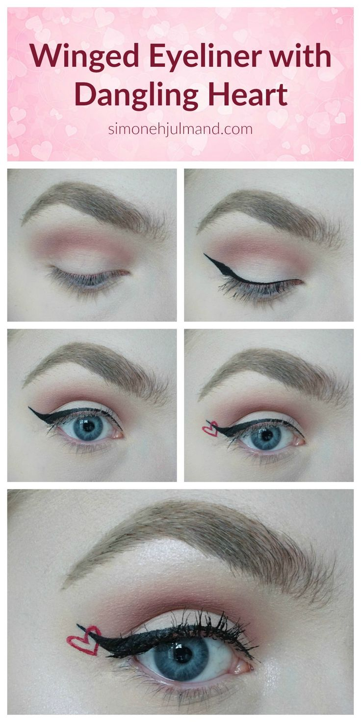 Valentine's Day Makeup Look Tutorial Step by Step - Winged Eyeliner with Dangling Heart. Anastasia Beverly Hills, NYX Cosmetics, Eylure, Essence, Revlon, Makeup Revolution. Pink Eyeshadow. Makeup Blogger // simonehjulmand.com