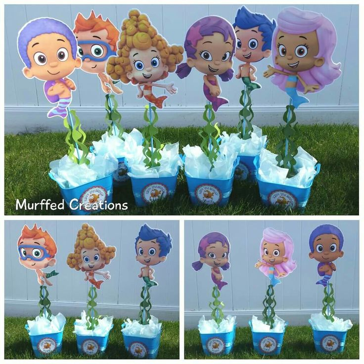 Bubble Guppies Centerpieces I made for my daughter. https://m.facebook.com/Murffedcreations/