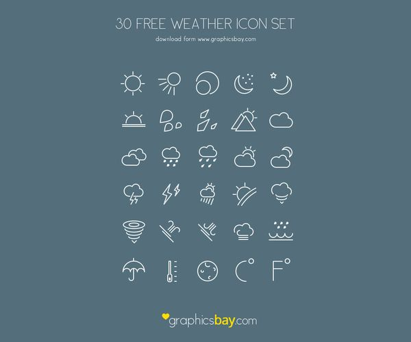 30 Free PSD Weather Icons Download: http://graphicsbay.com/item/30-free-psd-weather-icons/107