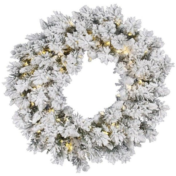 Vickerman Snow Ridge 30-in Pre-Lit Plug-In White/Green Pine Artificial... ($46) ❤ liked on Polyvore featuring home, home decor, holiday decorations, white home decor, pre lit christmas wreath, artificial christmas wreaths, fake christmas wreaths and prelit christmas wreath