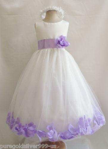Ivory Lilac Purple Black Orange Yellow Blue Pageant Wedding Flower Girl Dress | eBay