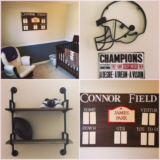Boys Football Nursery Room Add In Birthday Height And Weight On Scoreboard Done Baby Pinterest
