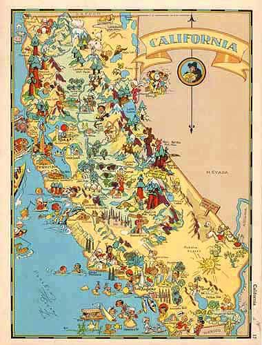 Cartoon cartograph map of California by Ruth Taylor White