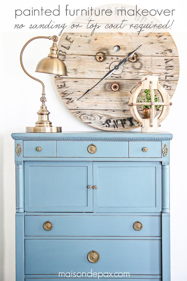 Gorgeous antique dresser painted blue and lightly distressed: best way to paint furniture - no sanding or top coat required   maisondepax.com