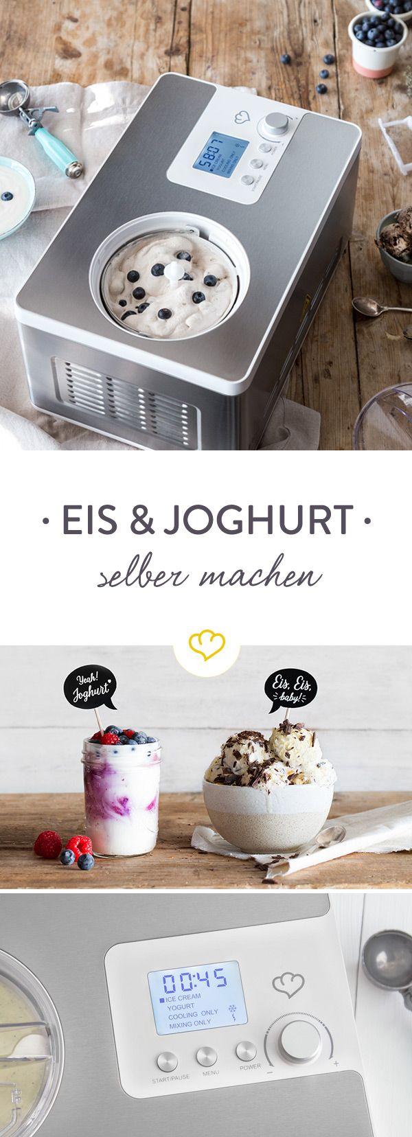 Schoko oder Vanille? Mit frischen Früchten oder Nüssen? Mit 2-in-1 Eismaschine und Joghurtbereiter Elisa von Springlane Kitchen schleckst du nicht nur dein selbstgemachtes Lieblingseis aus der Waffel, sondern bereitest dir auch frischen Joghurt für dein Frühstücksmüsli zu.
