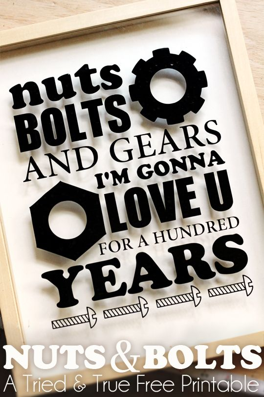 Nuts & Bolts Silhouette Art - A Tried & True Free Printable. Great sentiment for a guy card