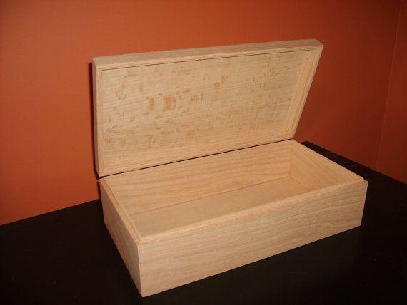 Unfinished  Wood Box w/ Hinges-13 3/4 x 7 1/4 x 4-unfinished wood box-ready to finish-engravable wood box-personalized laser engraving