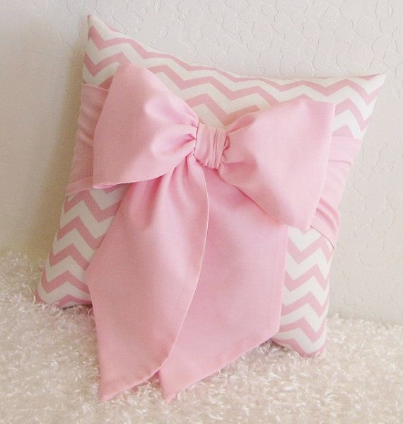 Pink and White Chevron Bow Accent  Throw Pillow by pillowsbycindee, $20.00