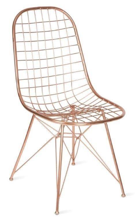 SET OF 2 Ileana Modern Designer Wire Mesh Chair - Copper