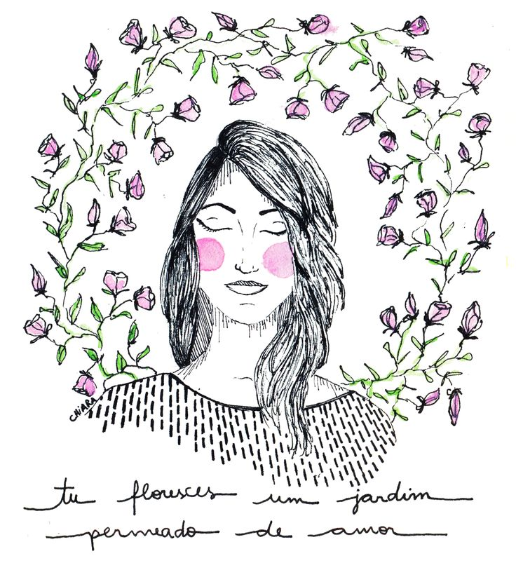 illustration woman flowers and roses