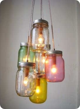 Create a cute chandelier with cute colored Mason Jars!