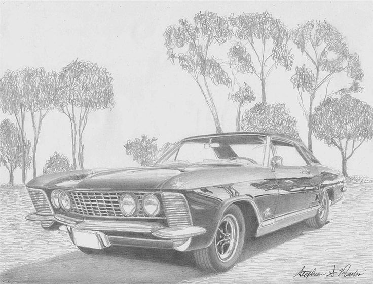 Muscle Car Drawings | Car Art Print Drawing by Stephen Rooks - 1964 Buick Riviera Muscle Car ...