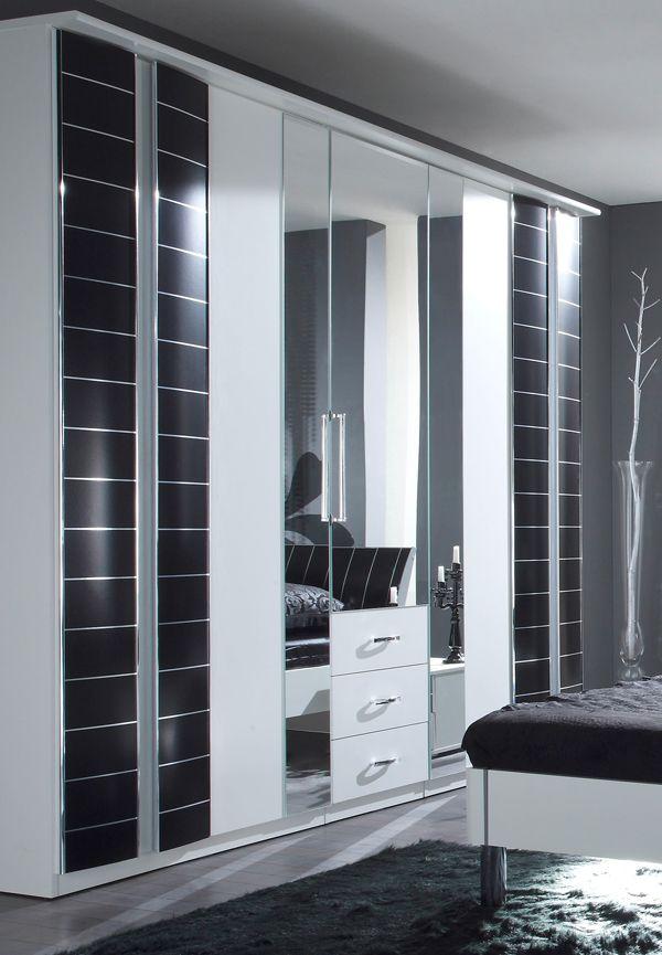 Lovely Kleiderschrank Schrank t rig mit Spiegel und Schubk sten wei schwarz Neu