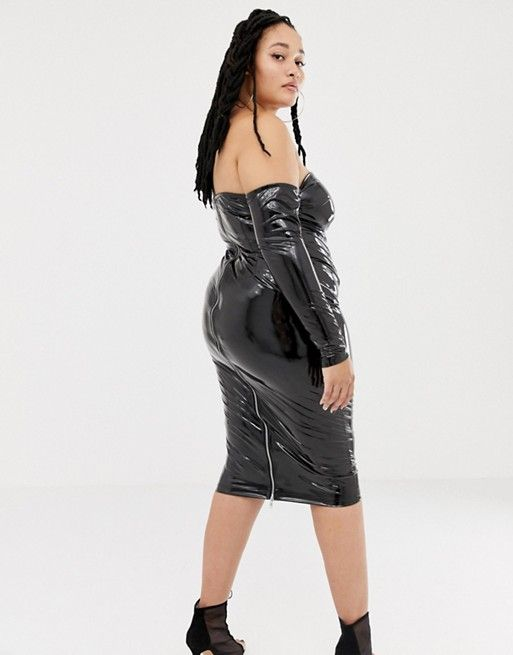 e261836998a DESIGN x LaQuan Smith Curve off shoulder midi dress in vinyl in 2019 ...