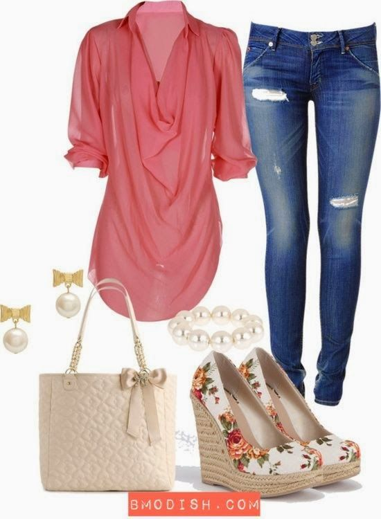 Perform Your Casual Style with Coral Pink Layered Blouse