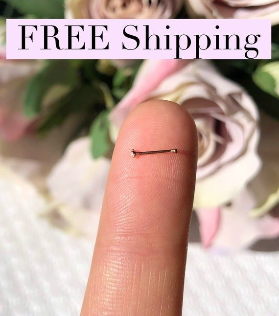 925 Sterling Silver Straight Nose Stud Ring Tiny Small 1mm Clear 22G