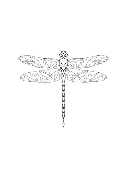 Poster mit Libelle in geometrischen Formen