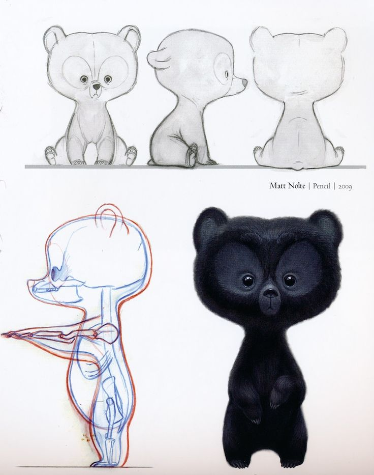 Concept art sketches for little bears from Pixars Brave by Matt Nolte