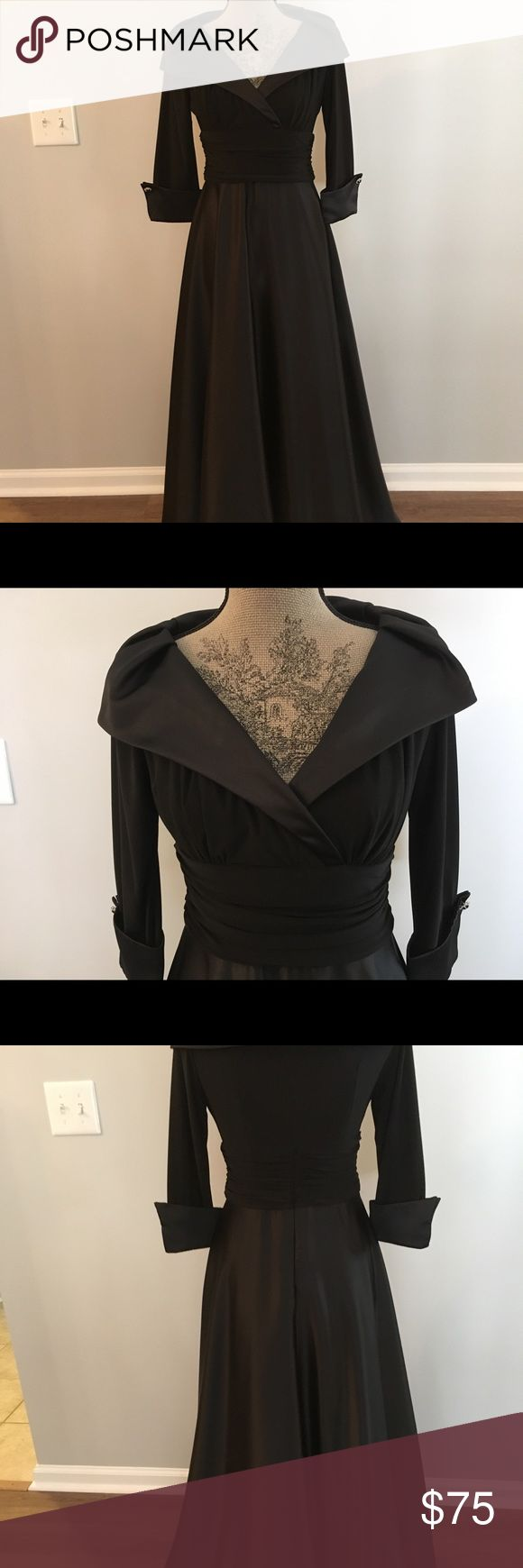 Black full length formal dress with 3/4 sleeves. Full length black formal dress has 3/4 sleeves and a wide collar. Skirt is slightly flared. Worn once as mother-of-the-groom. Hem was professionally altered for a petite with heels. Length should work for most petites with appropriate shoes. Dry clean. Eliza J Dresses Wedding
