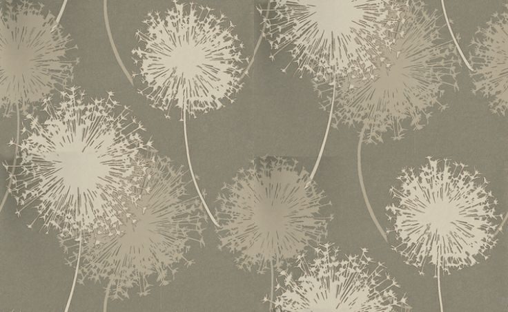 Alium (BL-1004-01) - Blendworth Wallpapers - The large scale flower heads, highlighted with metallics across the design forming shadows and create bold splashes of colour.  Shown in the stunning silver gold and grey combination, please request sample for true effect and colour match