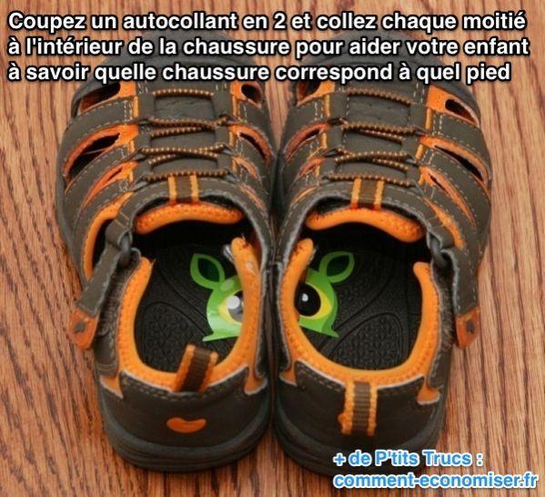 L'Astuce Pour Aider Son Enfant à Mettre Ses Chaussures Au Bon Pied Tout Seul.