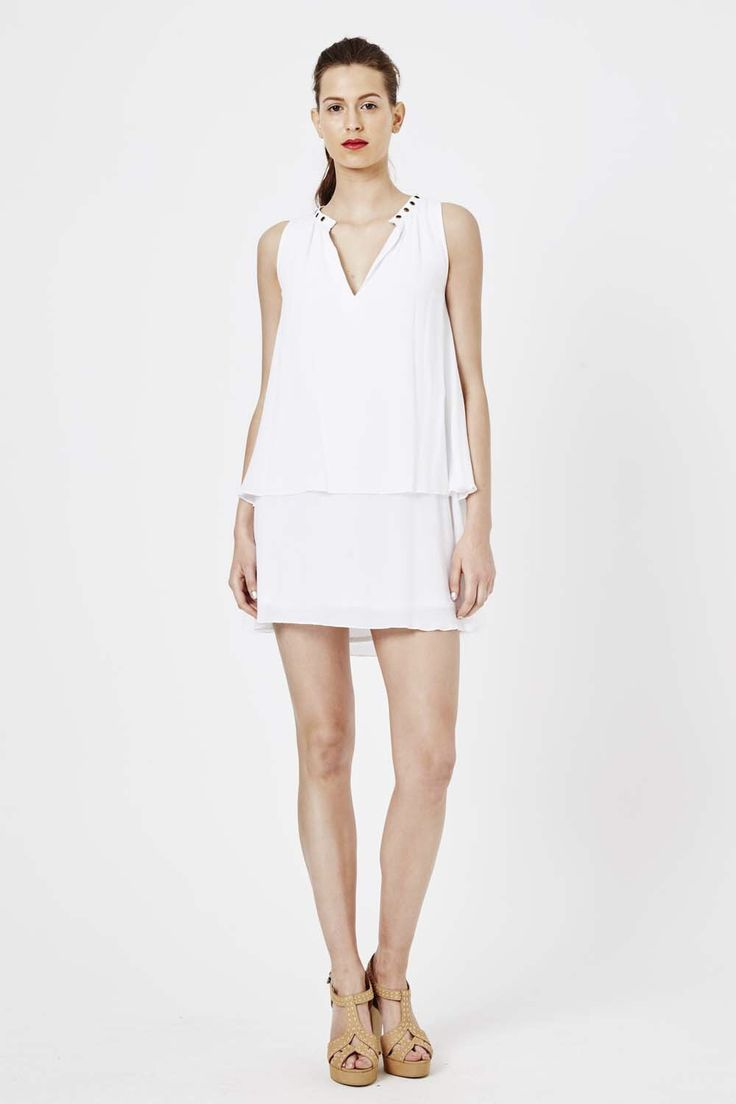 Shilla - Tropica Eyelet Sleeveless Dress - White